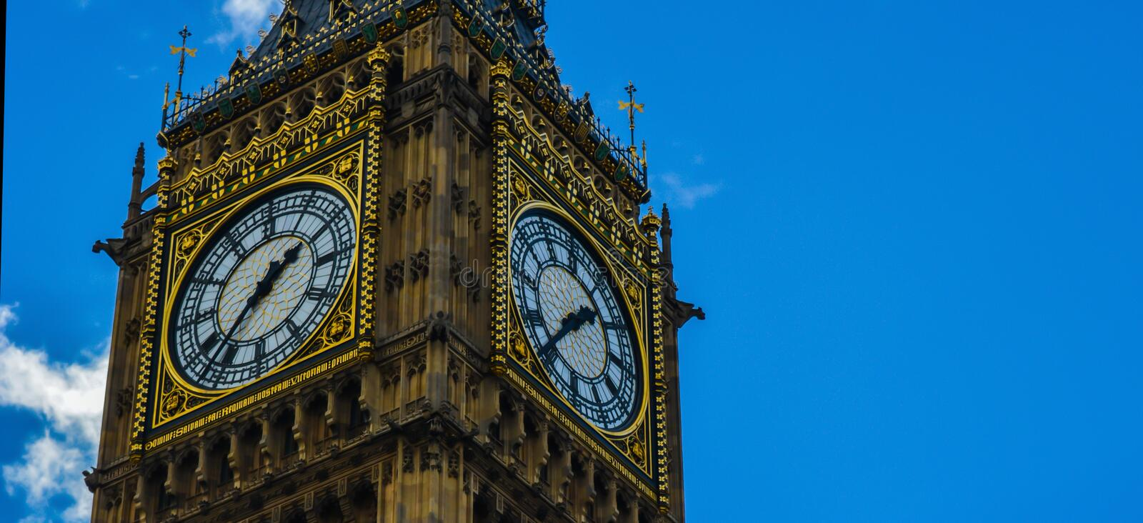 Big Ben. A picture of the big ben clock face (close up) in the capital of the united kingdom (London royalty free stock photography