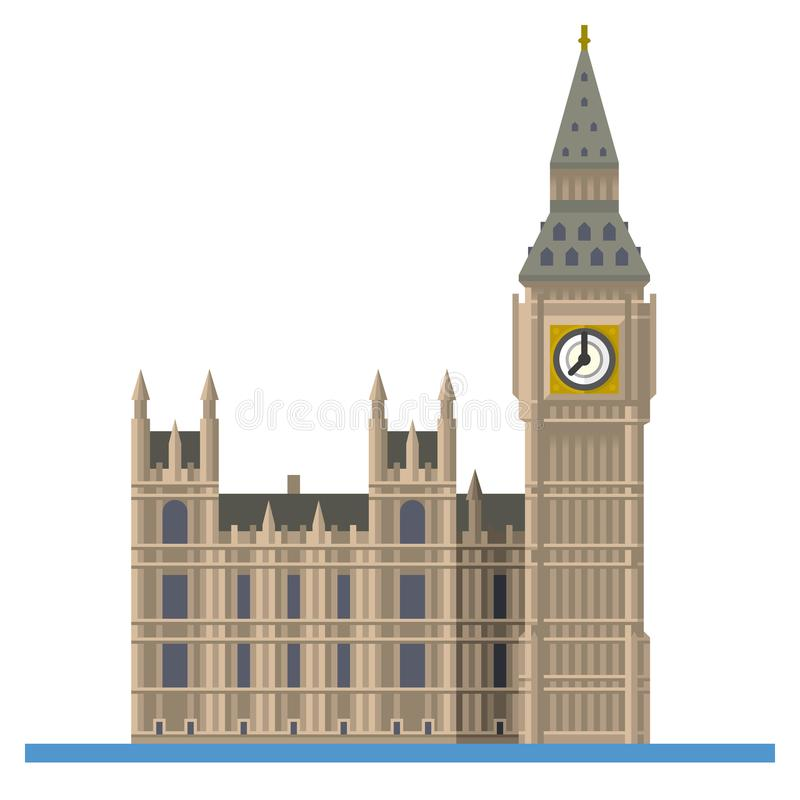 Big Ben przy Londyn, Anglia, płaska projekta wektoru ikona ilustracji