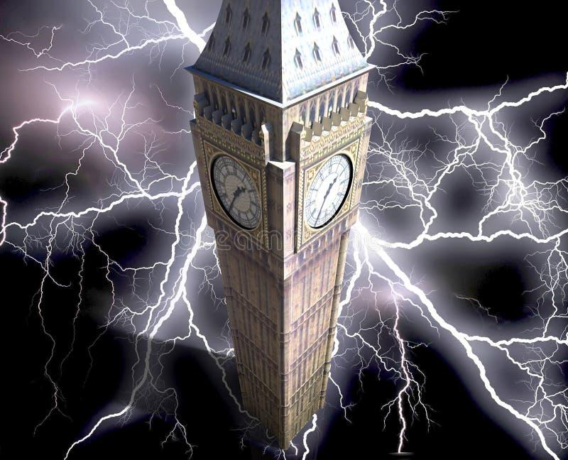 Big Ben przy nocy 3d renderingiem ilustracja wektor