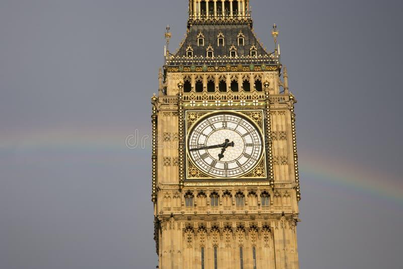 Big Ben With Rainbow Stock Photo
