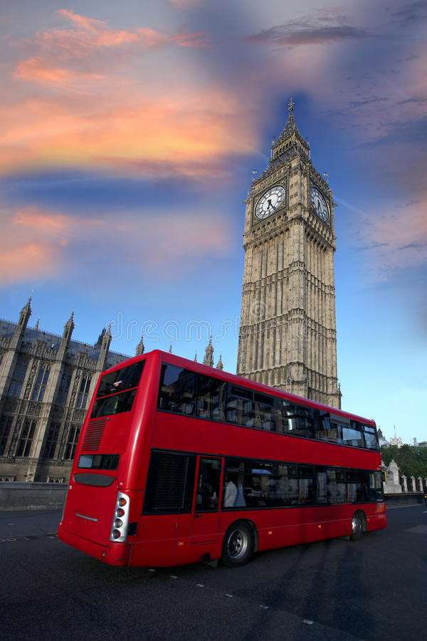 Big Ben With Red Bus In London, UK Royalty Free Stock Photo