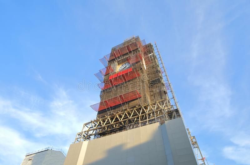 Big Ben with scaffolding London England royalty free stock images