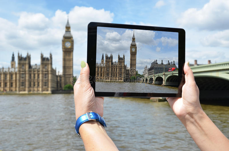 Big Ben on the screen of tablet. Big Ben on the screen of a tablet stock images