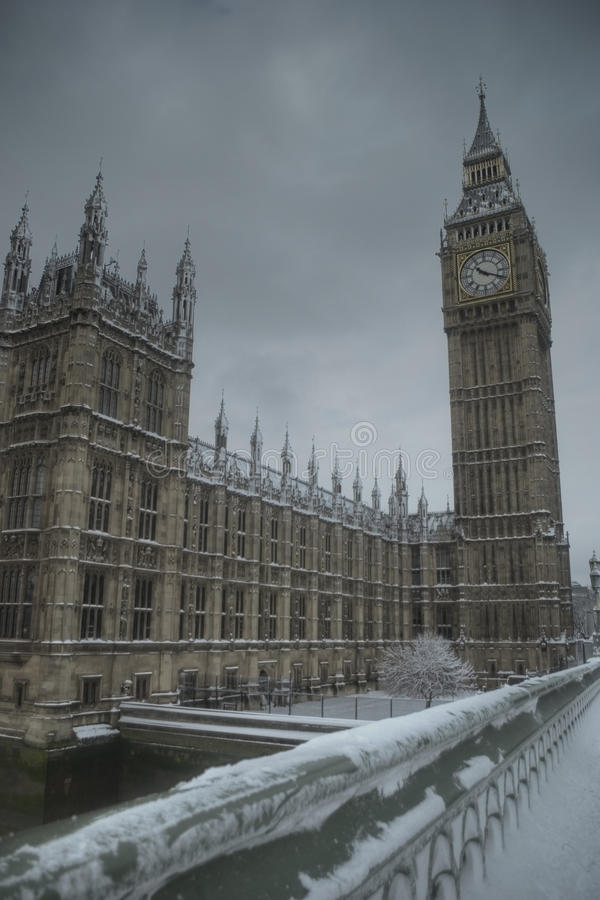 Big Ben on a snowy winter day stock image