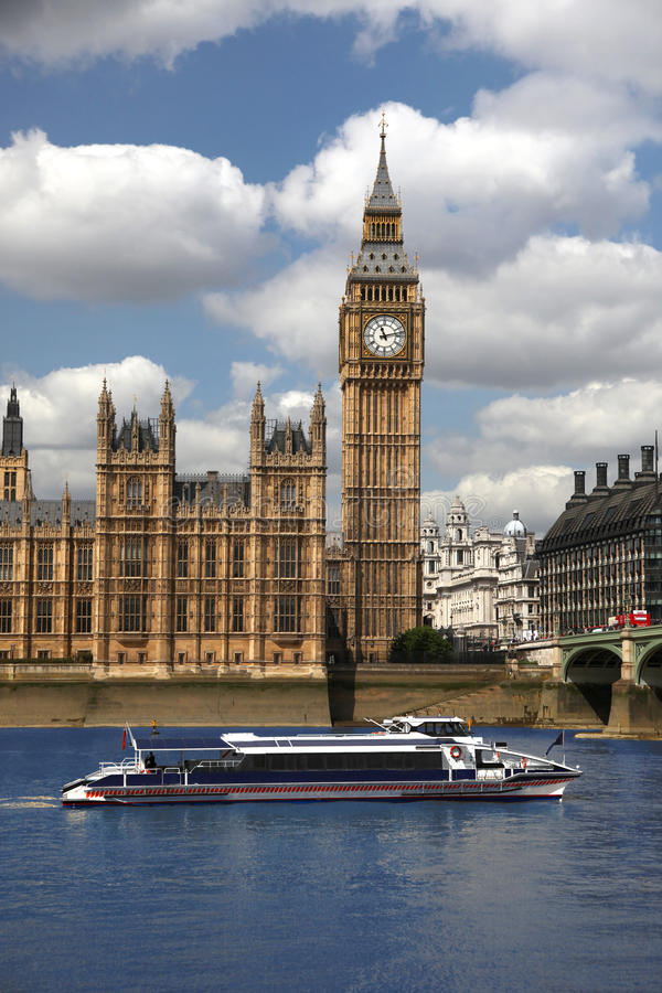 Big Ben with speed boat, London, UK. Big Ben with speed boat in front stock photography
