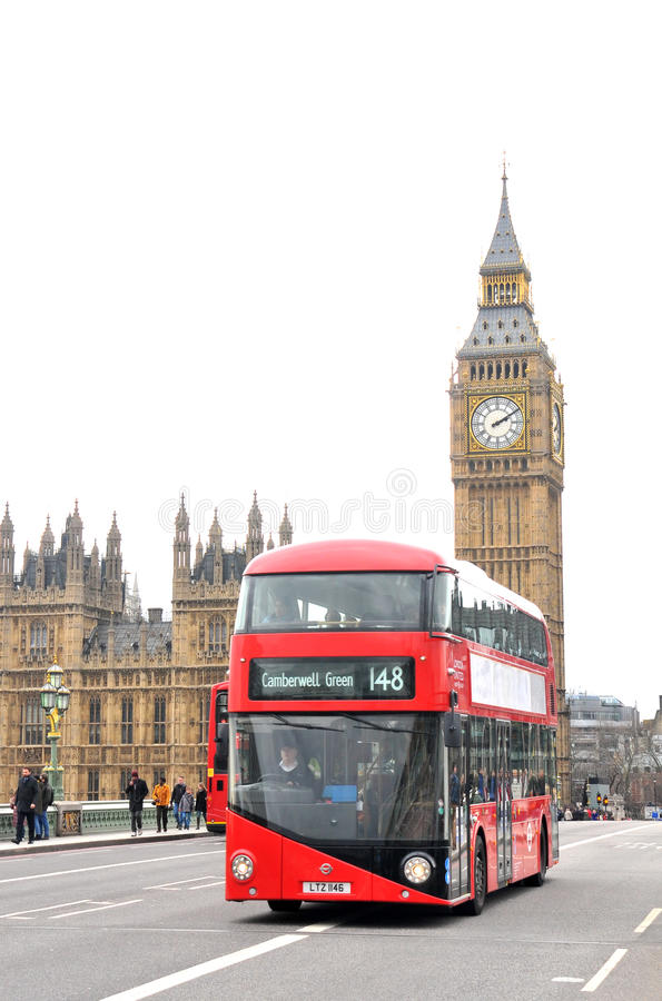 Big Ben street view. With a red bus on white background royalty free stock photography