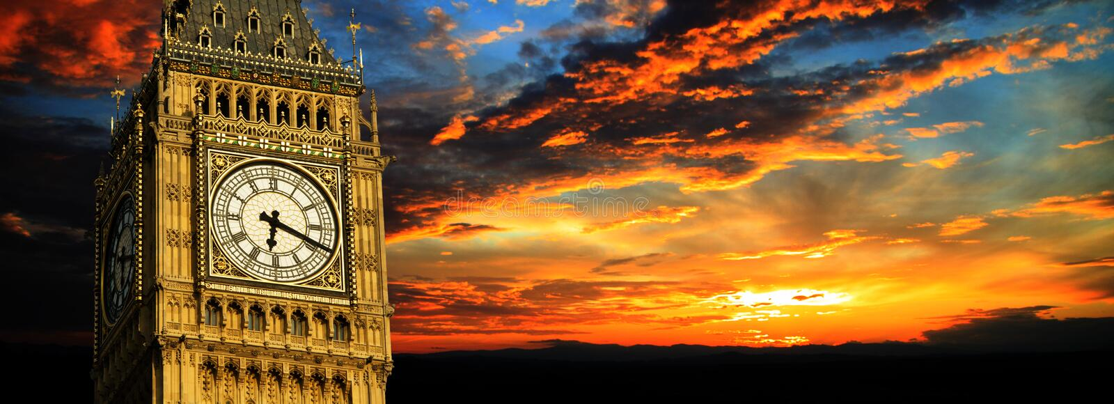 Big Ben at sunset panorama, London stock image