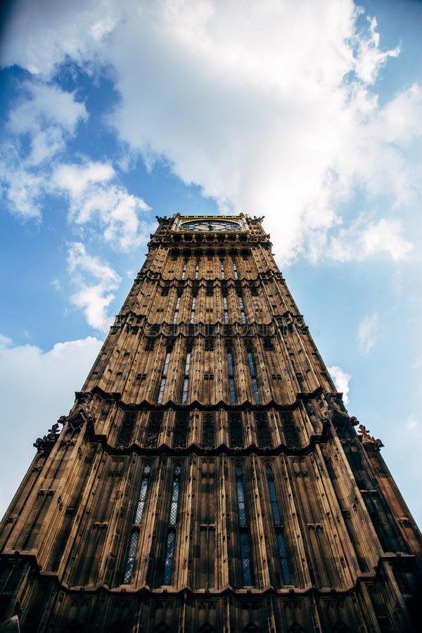 The Big Ben. Tall and mighty. Straight lines and intimidating view of the clock tower royalty free stock images