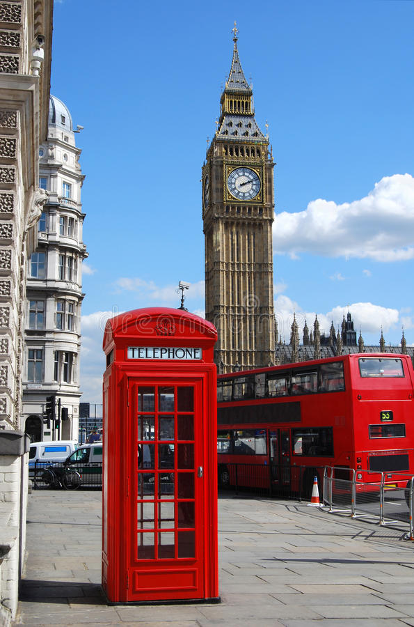 Big Ben, telephone box and double decker bus in London. Big Ben, red telephone box and double decker bus in City of Westminster, London royalty free stock photos