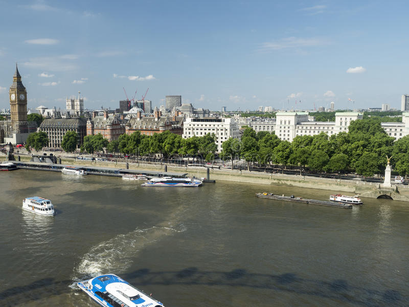 Big Ben and the Thames, seen from the London Eye stock photography