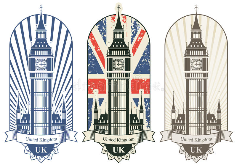 Big Ben. Three posters with Big Ben and the British flag stock illustration