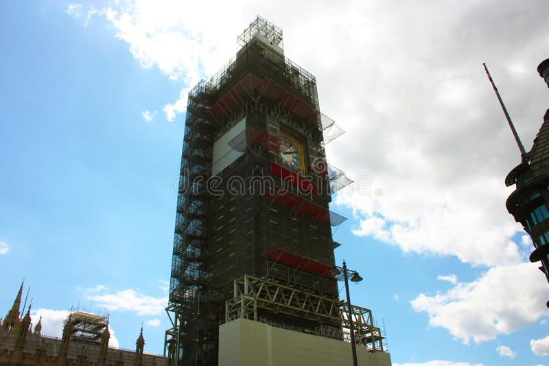 The Big Ben tower being restored in London stock photo