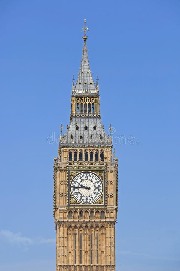 The Big Ben Tower. Big Ben is the nickname for the Great Bell of the clock at the north end of the Palace of Westminster in London and is usually extended to stock images