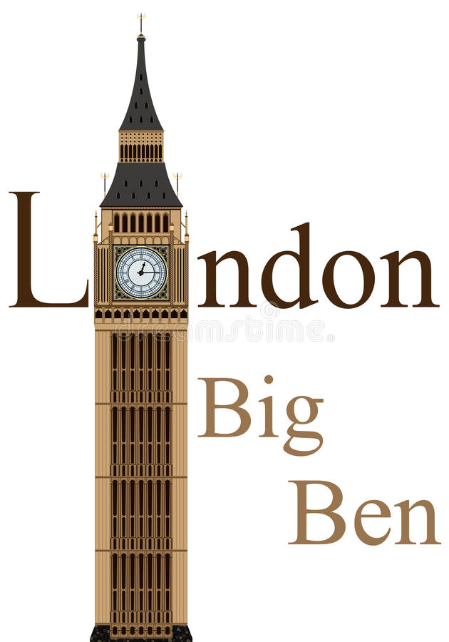 Big Ben. Tower illustration, isolated on white background, vector royalty free illustration