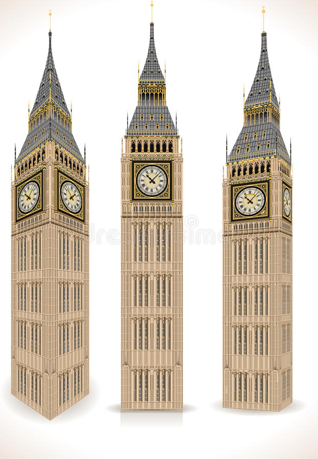 Big Ben Tower Isolated on White royalty free illustration