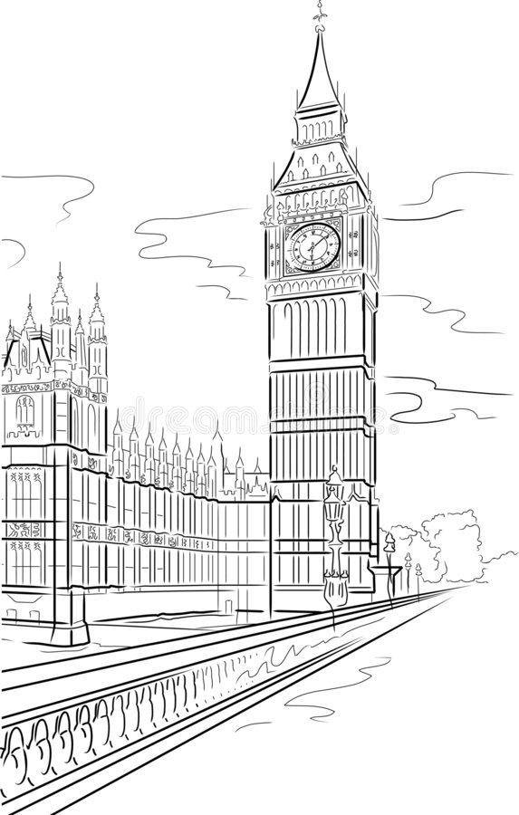 Line Drawing Tattoo London : Big ben of tower in london stock vector illustration