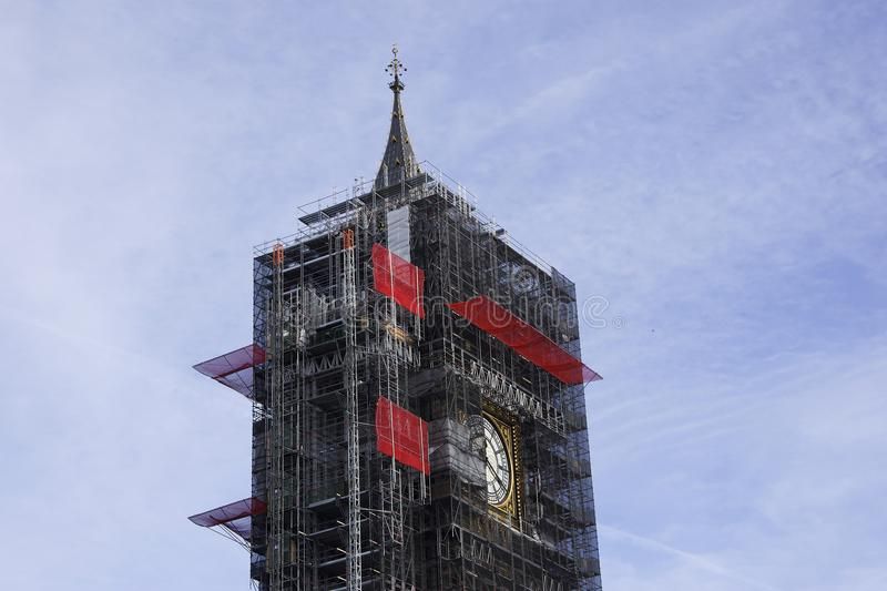 Big Ben Tower in London during construction work royalty free stock photos