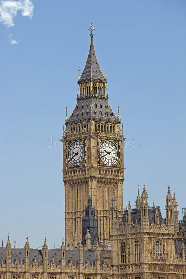 The Big Ben Tower. Big Ben is the nickname for the Great Bell of the clock at the north end of the Palace of Westminster in London and is usually extended to stock photography