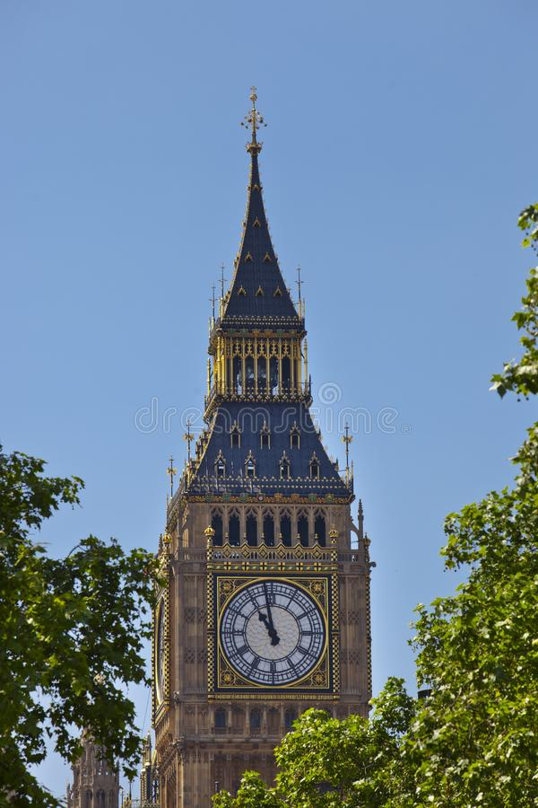 The Big Ben Tower. Big Ben is the nickname for the Great Bell of the clock at the north end of the Palace of Westminster in London and is usually extended to royalty free stock photos