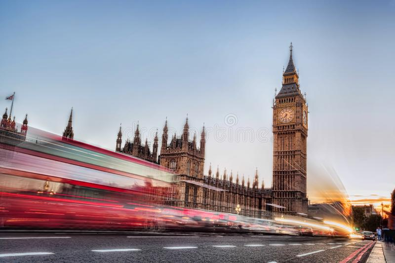 Big Ben with traffic jam in the evening, London, United Kingdom stock image