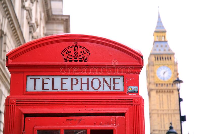 Big Ben und rote Telefonzelle in London lizenzfreies stockfoto