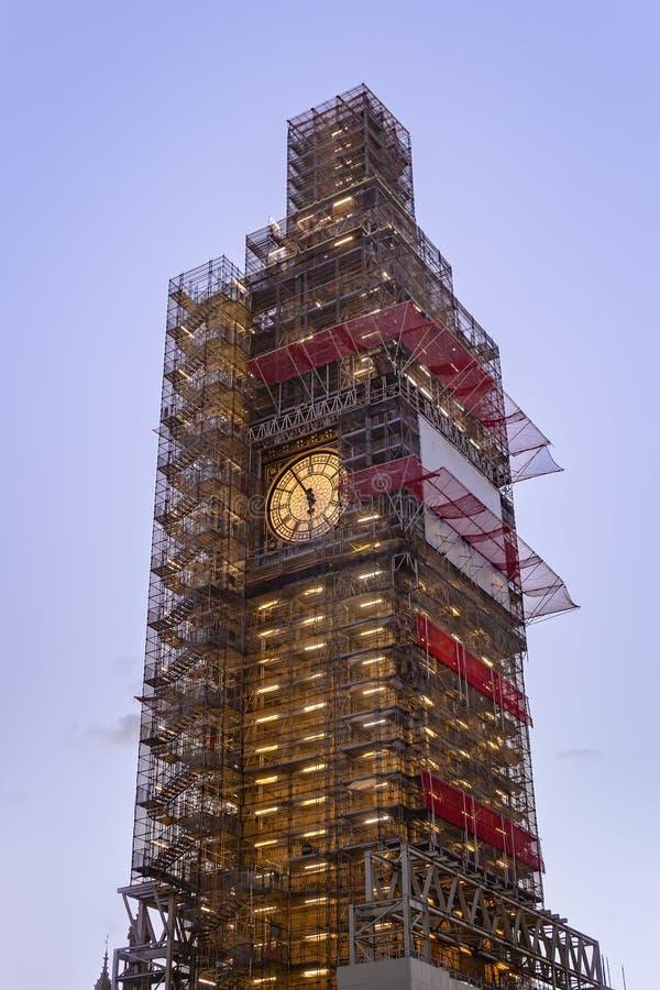 Big Ben under construction, London, UK stock photography