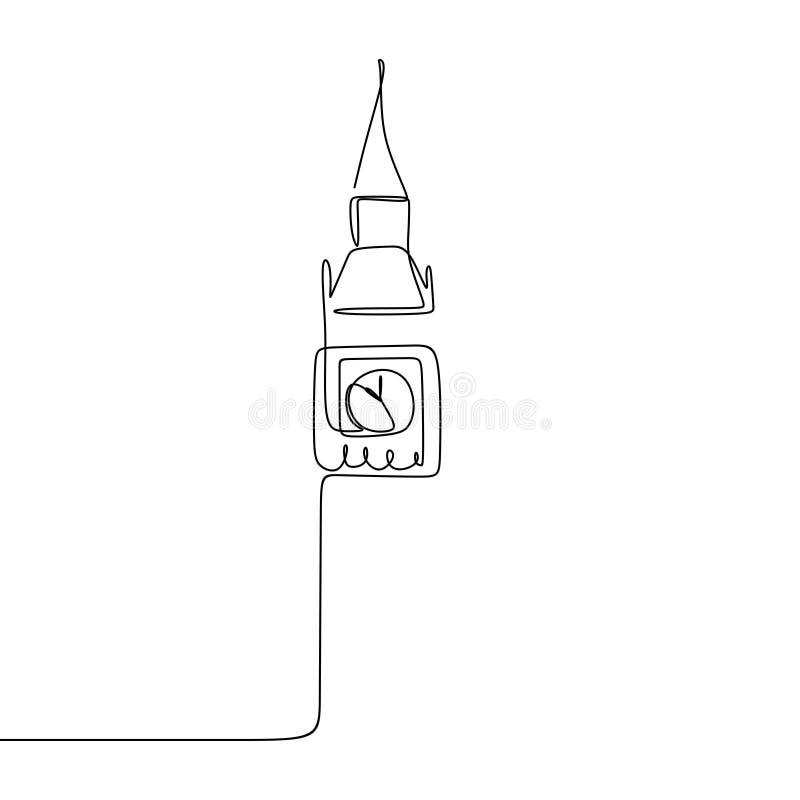 Big Ben ununterbrochenes einzelnes Federzeichnungsvektorillustration Londons lizenzfreie abbildung