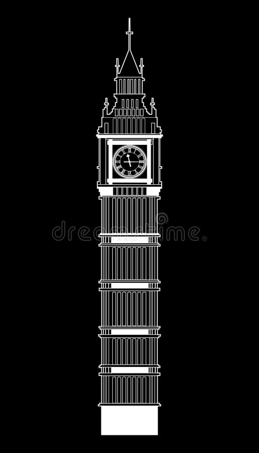 Big Ben vector. Contur. England or London icon vector illustration