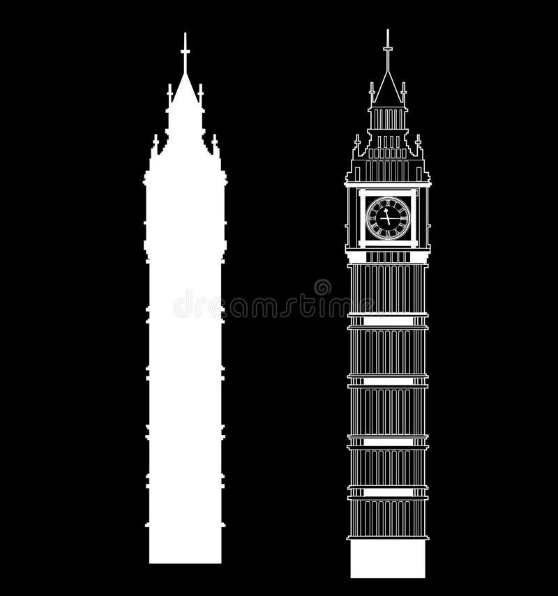 Big Ben vector. Contur and silhouette. England or London icon set vector illustration