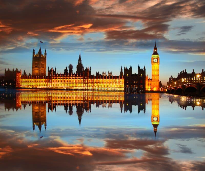 Big Ben w wieczór, Londyn, Anglia fotografia stock