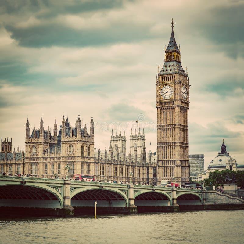 Big Ben, Westminister most na Rzecznym Thames w Londyn UK Rocznik obrazy royalty free