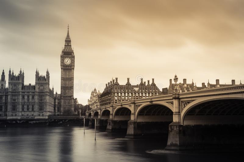 Big Ben and westminster bridge. Black and white stock photos