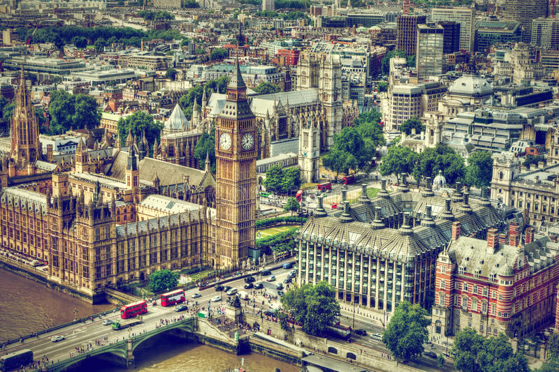 Big Ben, Westminster Bridge on River Thames in London, the UK aerial view. Big Ben, Westminster Bridge on River Thames in London, the UK. English symbol. Aerial royalty free stock photos