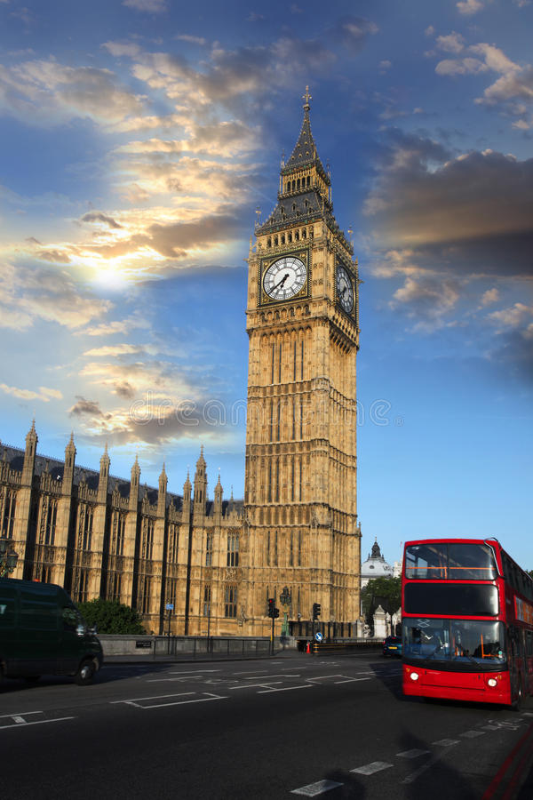 Big Ben in the Westminster, London. Big Ben with clock in Westminster, London royalty free stock photo