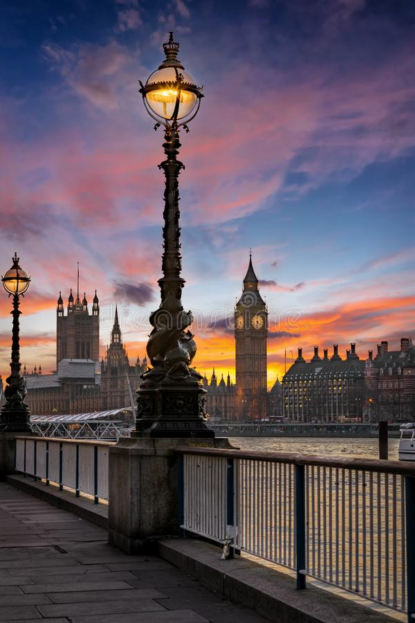 The Big Ben and Westminster in London, United Kingdom, just after sunset. A beautiful sky is seen after sunset in the Big Ben and Westminster in London, United stock images