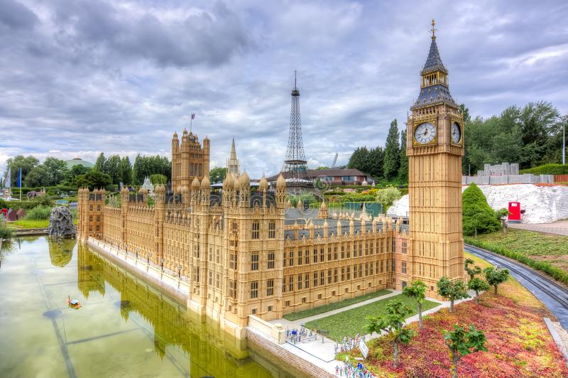 Big Ben, Westminster palace and Eiffel tower in mini Europe park, Brussels, Belgium royalty free stock photo