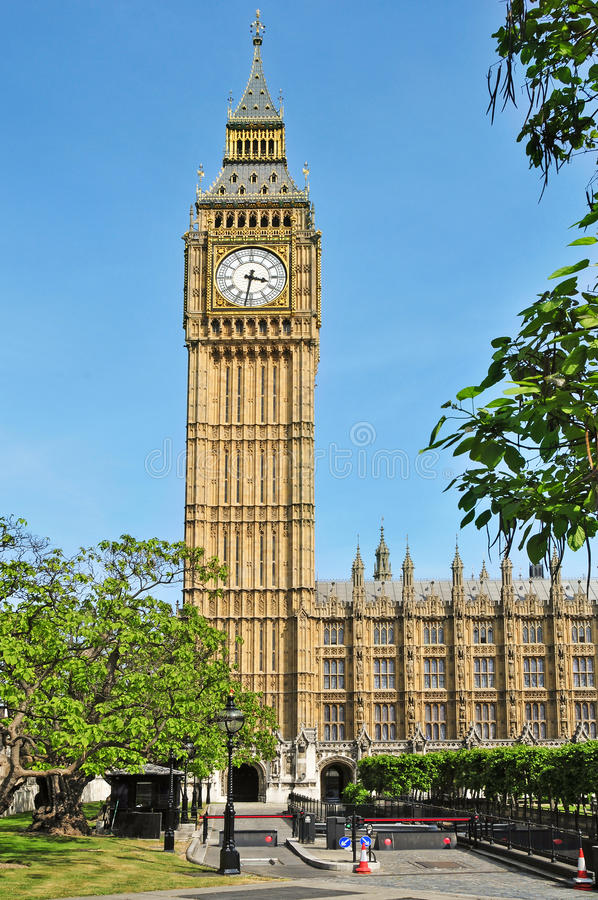 Big Ben and Westminster Palace, London. A view of Big Ben and Westminster Palace in London, United Kingdom stock photo