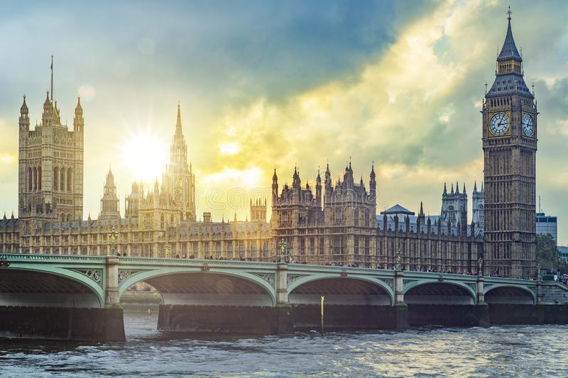 Big Ben and Westminster Palace in London. In back light stock photos