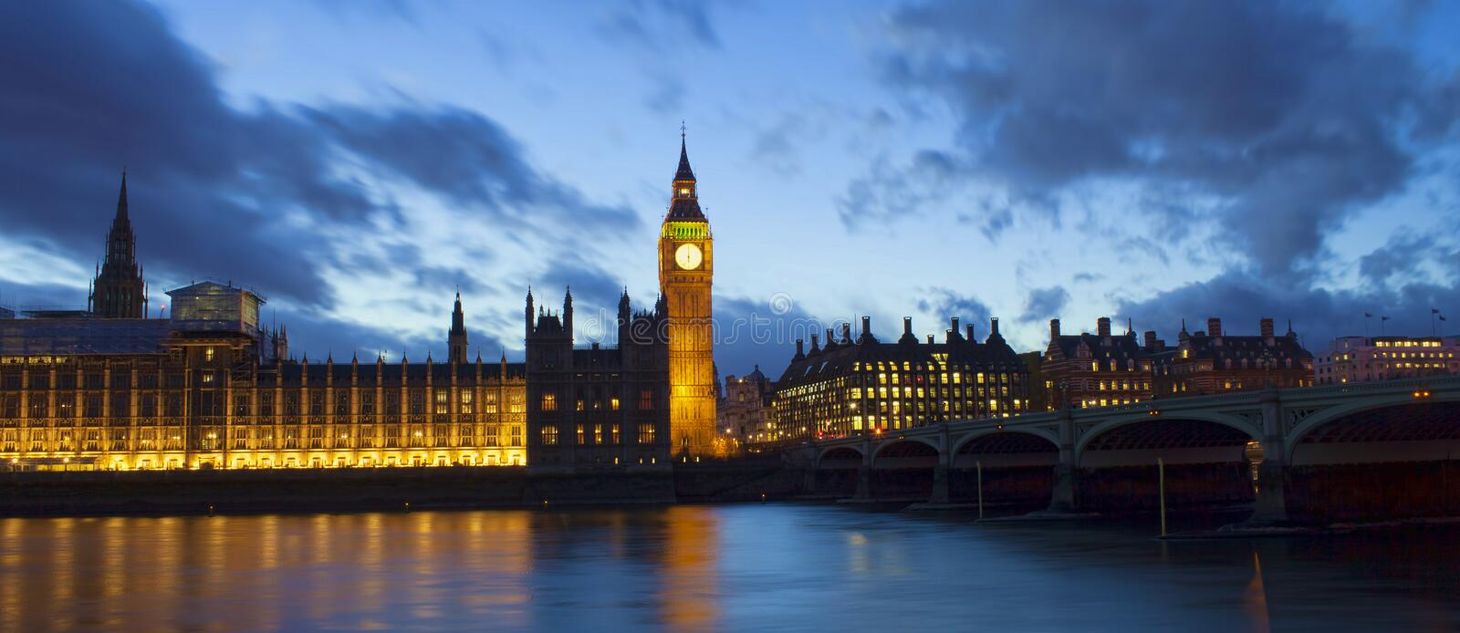 Big Ben and Westminster palace in London. At night. abstract colorful image stock photography