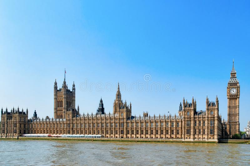 Big Ben at Westminster Palace in London. Old town in United Kingdom. Thames River in city capital of UK. England in spring. Bankside cityscape stock images