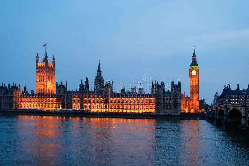 Big Ben of Westminster Palace and Thames River London evening. Big Ben of Westminster Palace in London old town in United Kingdom in evening. Thames River in royalty free stock photo