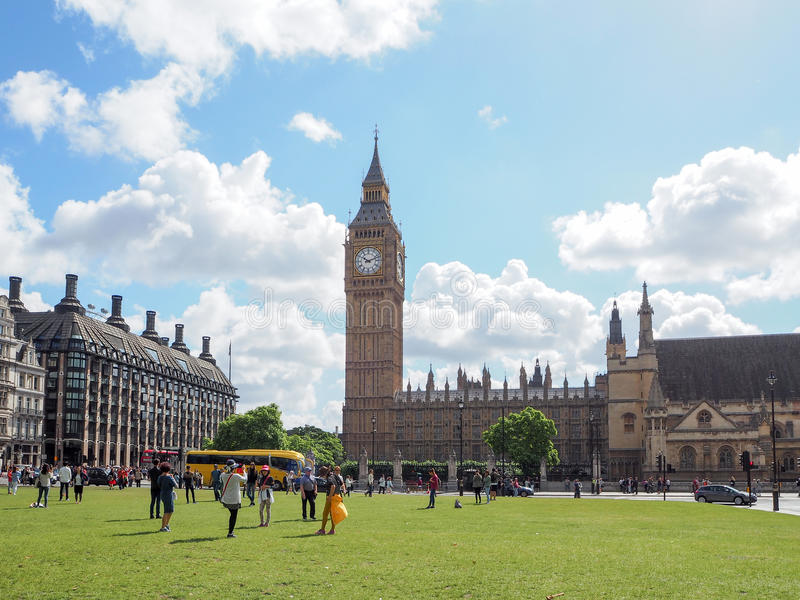 Big Ben of Westminster from Parliament Square Garden. Big Ben of Westminster, view from Parliament Square Garden, London, July 2016 stock photography
