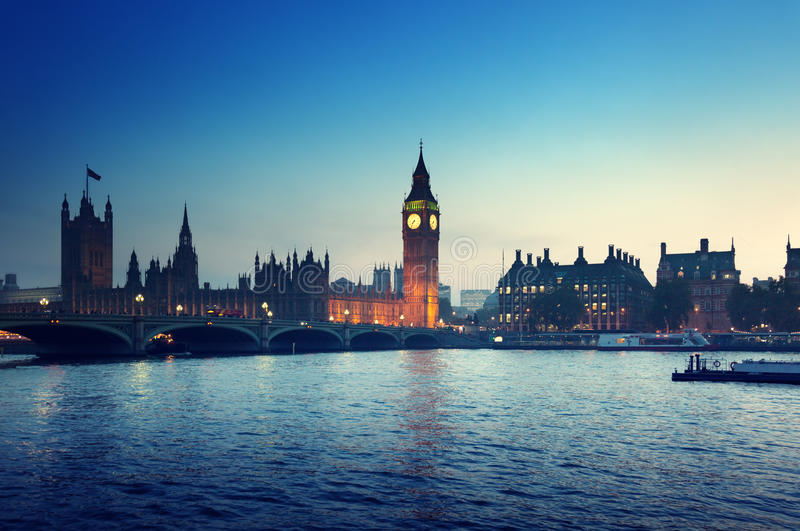 Big Ben and Westminster at sunset, London. UK royalty free stock photography