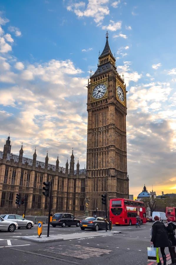 Big Ben wierza przy zmierzchem, Londyn, UK obrazy stock