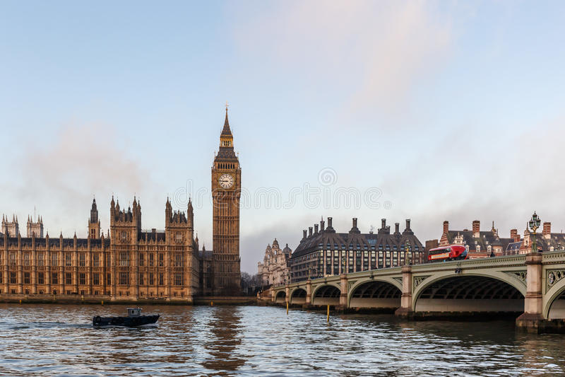 Big ben in winter morning. London royalty free stock photography