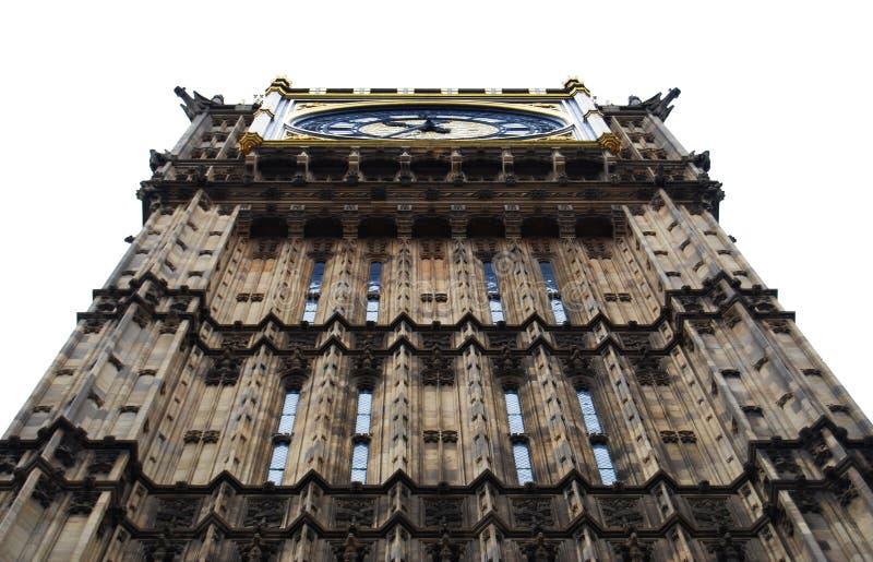 Big Ben Zegarowy wierza, biały tło, Londyn, UK obraz royalty free