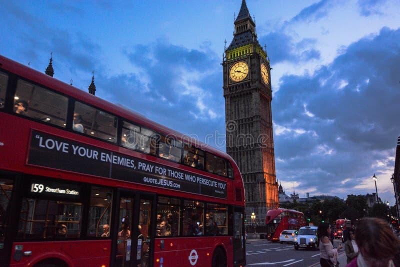 Big Ben-zonsonderganglicht stock afbeelding