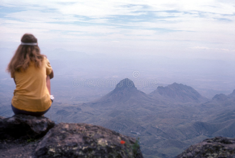 Big bend. In big bend national park, texas, a hiker looks south toward mexico from the top of the trail stock photos