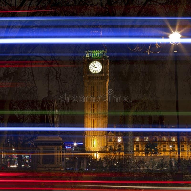 Big- Benund Leuchte-Spuren in London stockfotografie