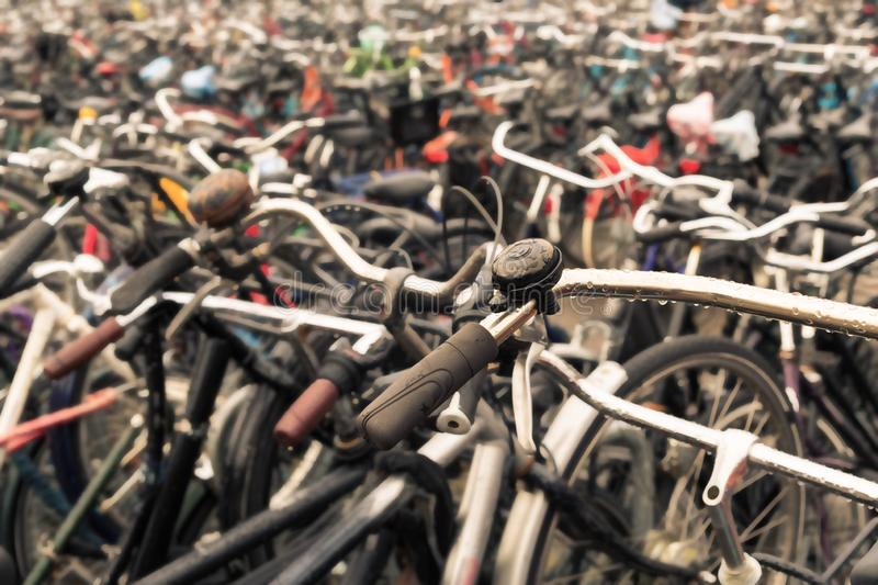 Big bicycle parking with lot of bicycles. Sport concept with bicycle. Pile of bikes in the street royalty free stock photography